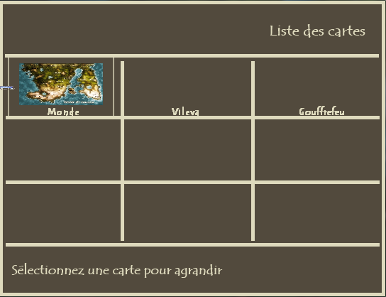 Menu des cartes